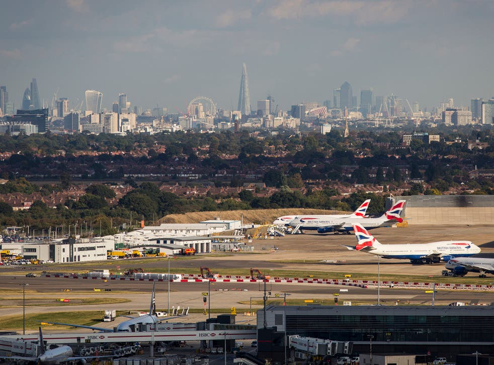 Heathrow Airport in front of the London skyline on October 11, 2016