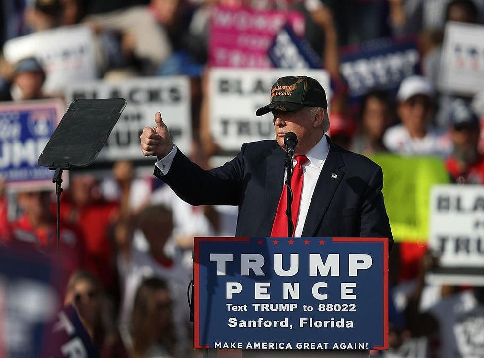 Republican presidential candidate Donald Trump speaks during a campaign rally at the Million Air Orlando, which is at Orlando Sanford International Airport on October 25, 2016 in Sanford, Florida. Trump continues to campaign against his Democratic challenger Hillary Clinton as election day nears.