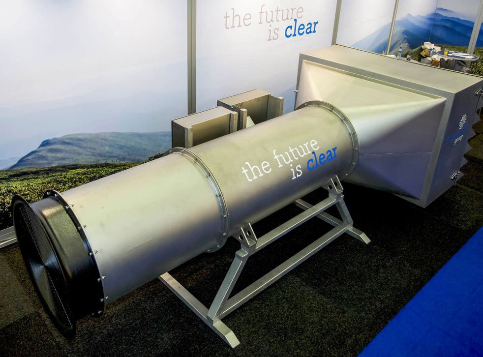 An Envinity Group system to filter air at the Offshore Energy 2016 Exhibition & Conference in Amsterdam on October 25, 2016.