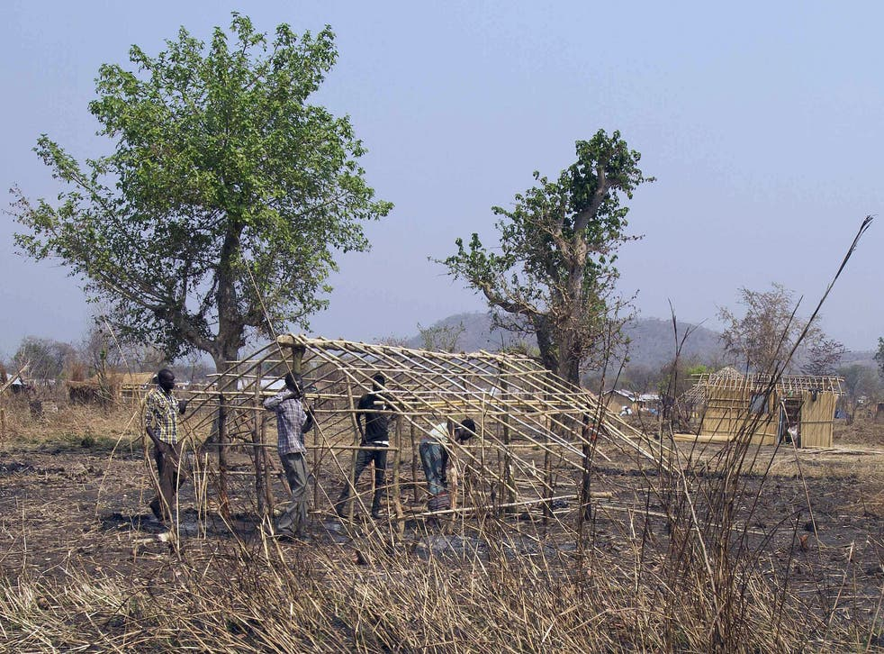 South Sudanese refugees use branches to build a structure at Nyumanzi Resettlement Camp in Adjumani, northern Uganda