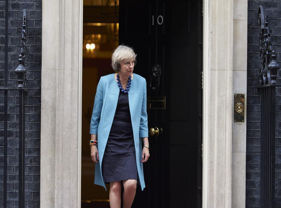 Theresa May outside 10 Downing Street in London