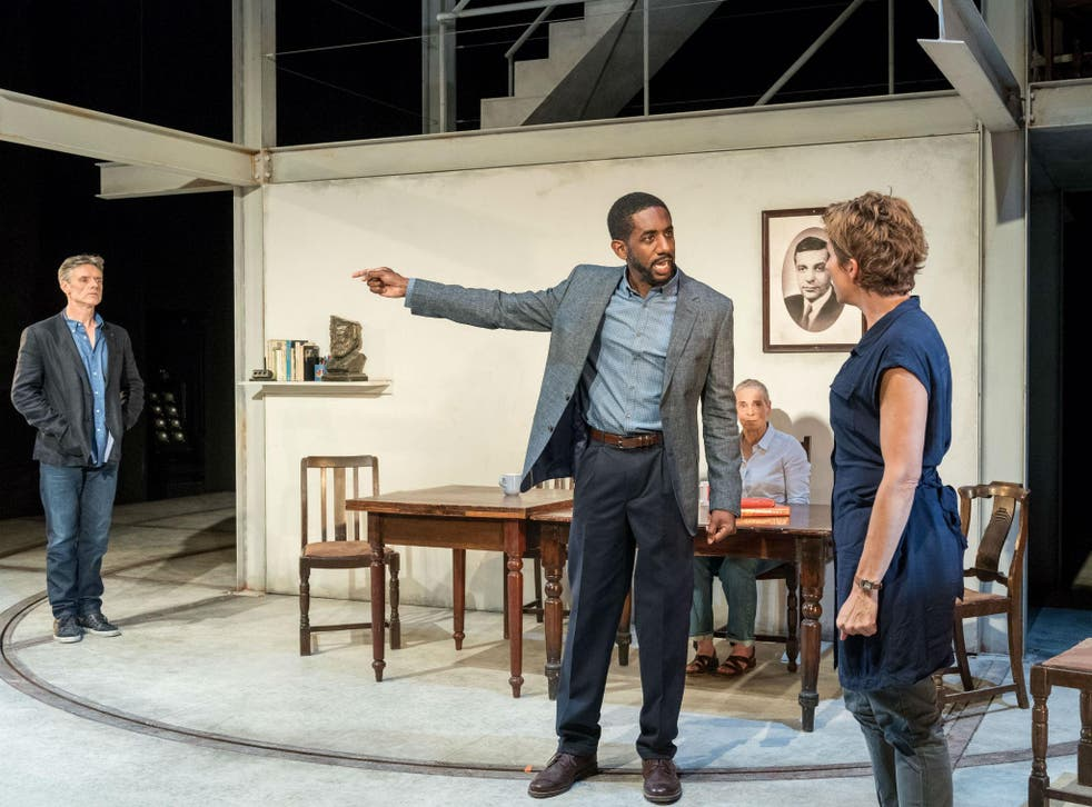 Heated family arguments: Richard Clothier (Pill), Tamsin Grieg (Empty) and Rushan Stone (Paul) in The Intelligent Homosexual's Guide to Capitalism and Socialism With A Key to the Scriptures at Hampstead Theatre