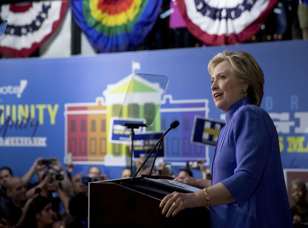 Clinton addresses a rally of LGBT supporters in Florida on Sunday