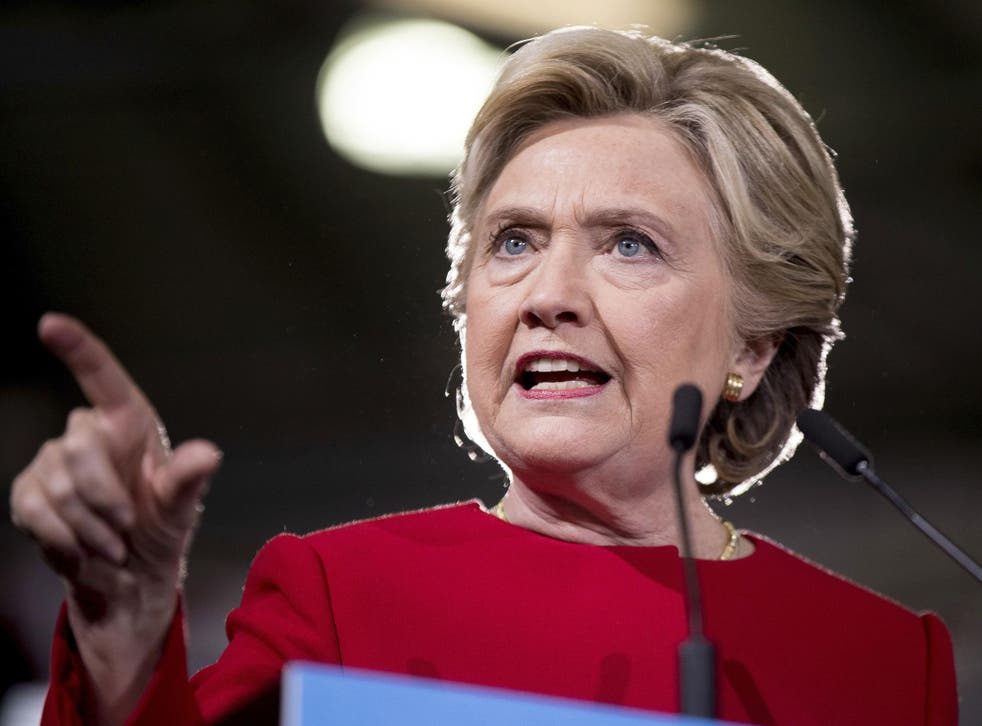 Democratic presidential candidate Hillary Clinton speaks at a rally at Kent State University in Kent, Ohio, Monday, 31 October, 2016