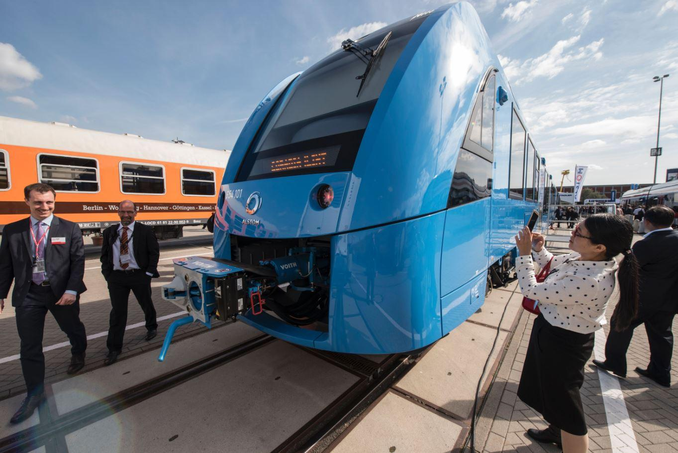 Image result for Germany unveils zero-emissions train that only emits Water