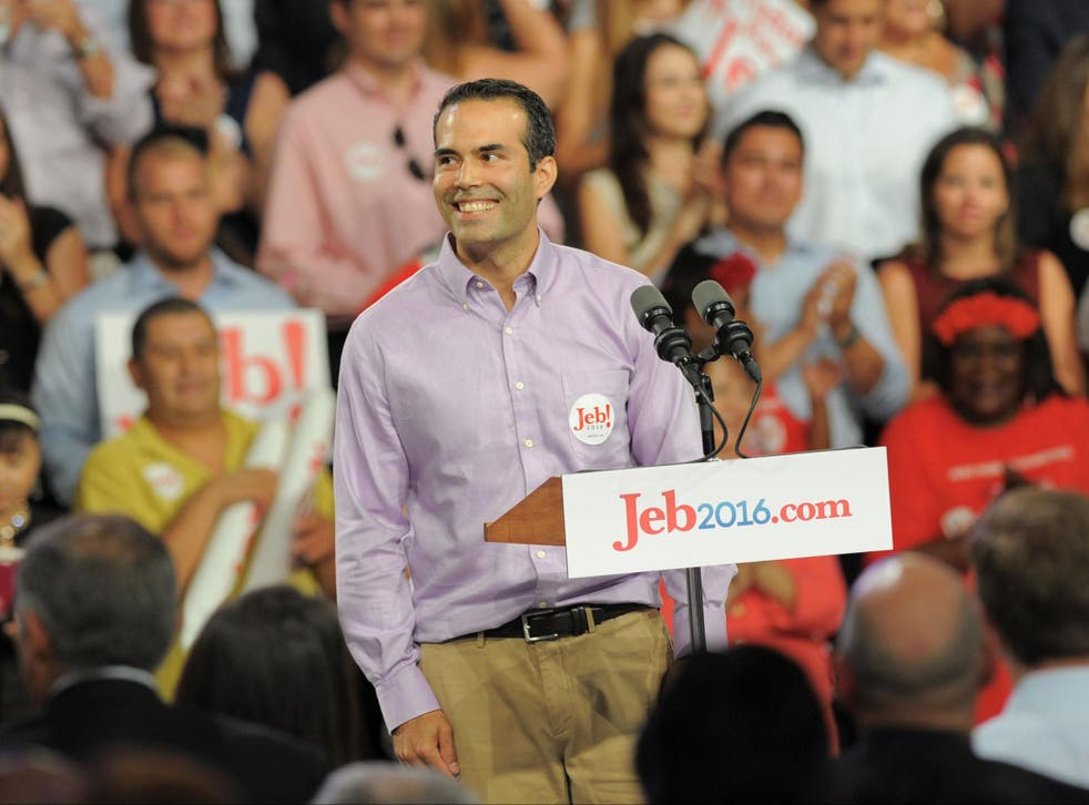 George P Bush, speaks to the crowd that has come to hear Former Republican Governor of Florida Jeb Bush announces his candidacy for the 2016 Presidential elections at Miami-Dade College Kendall Campus in Miami on 15 June, 2015