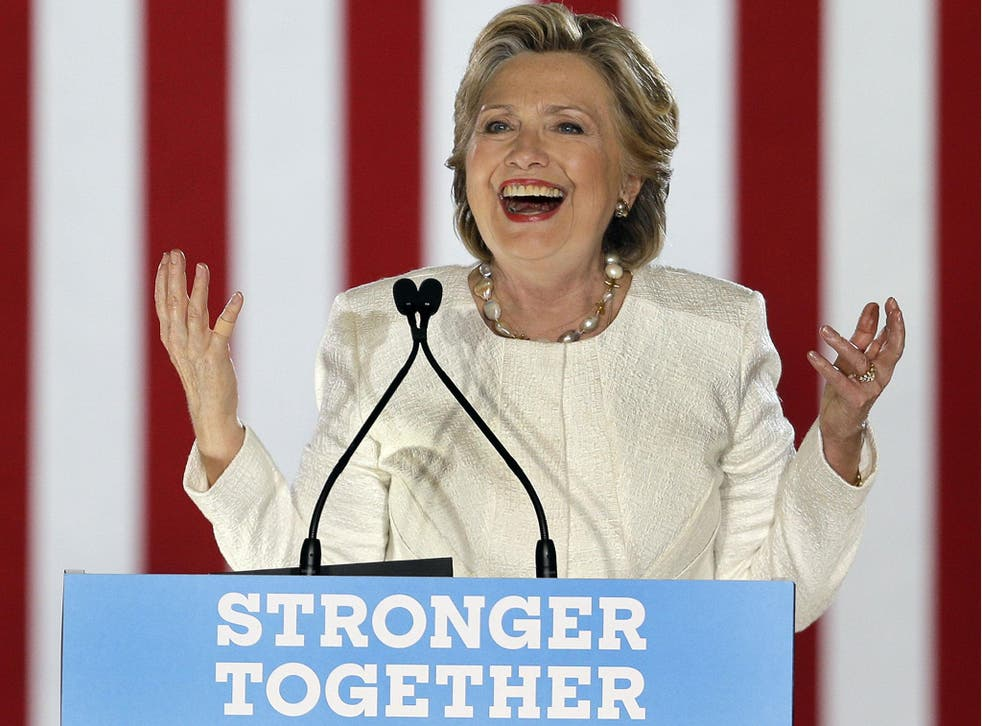 Democratic presidential candidate Hillary Clinton addresses supporters at a campaign event at Sanford, Florida on 1 November 2016