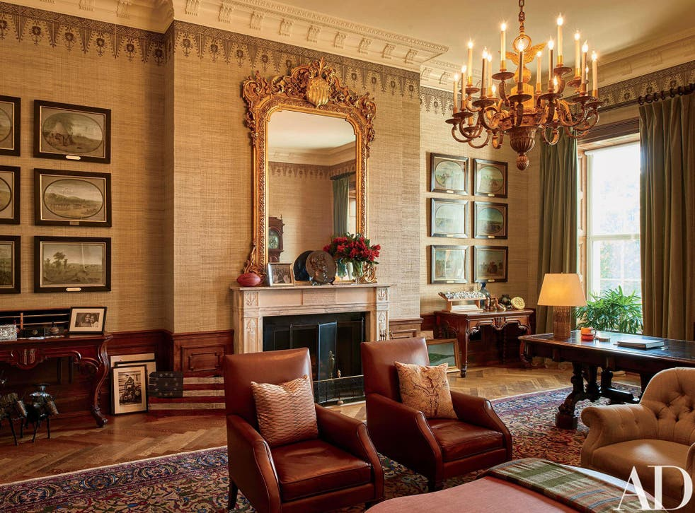 This image provided by Architectural Digest shows The Treaty Room in the White House in Washington