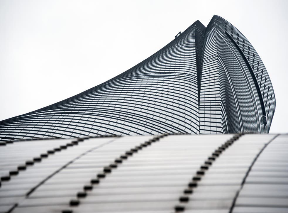 This picture taken on May 8, 2015 shows a view looking up of the new Shanghai Tower