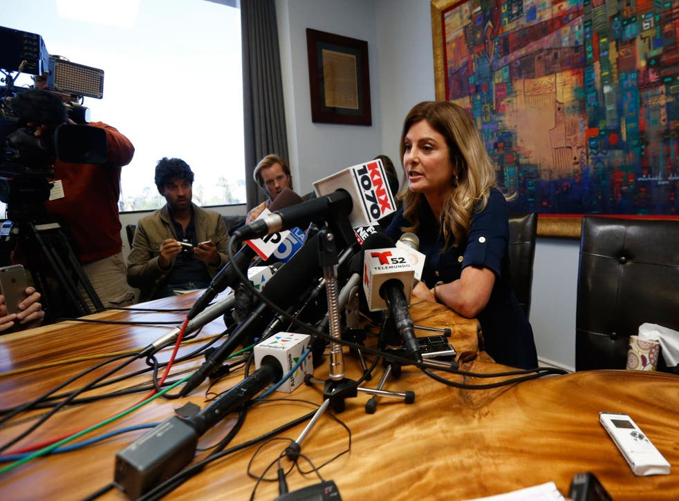 Lawyer Lisa Bloom gave a short statement about her client, who was too scared to appear
