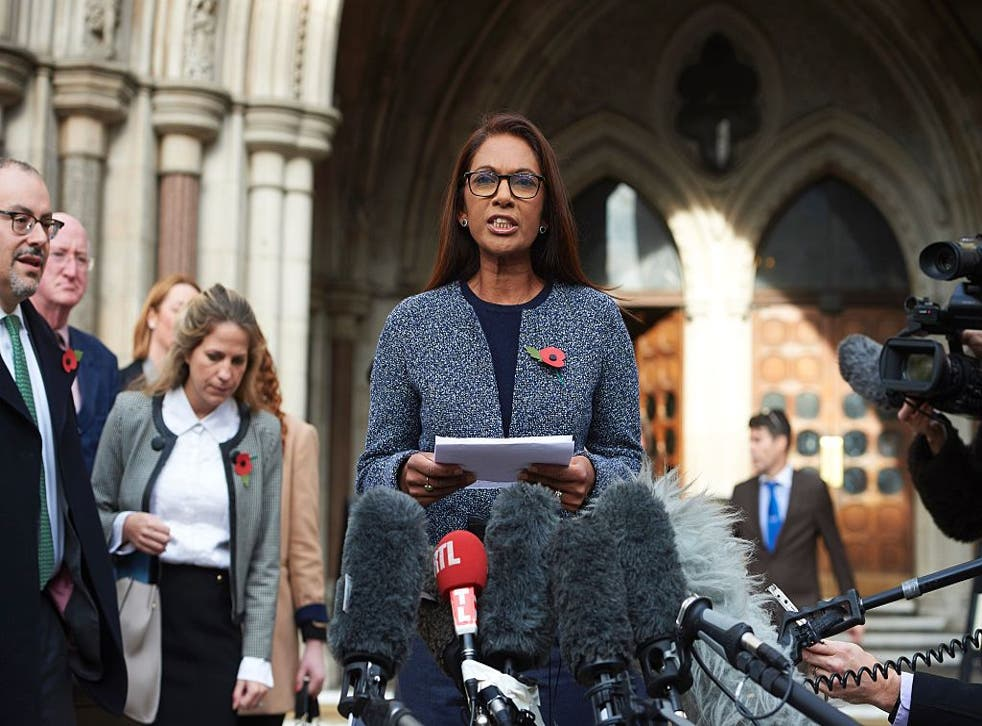 The High Court case's lead claimant Gina Miller speaking to the media after her victory