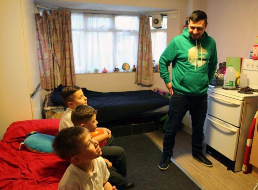 Homeless family living in an emergency hostel.