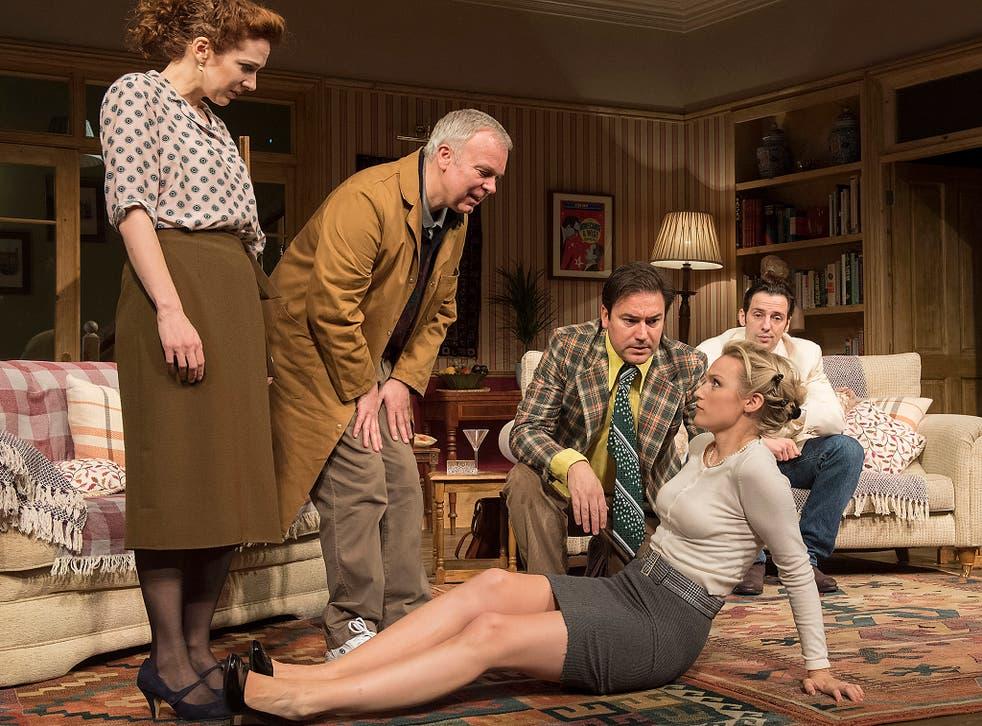 Katherine Parkinson and Steve Pemberton (left) lead the cast in Terry Johnson's hilarious production