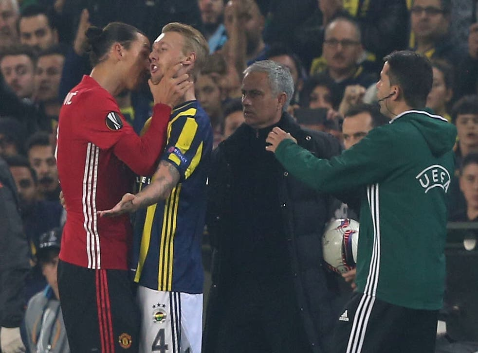 Ibrahimovic grabs Kjaer by the throat during United's 2-1 defeat