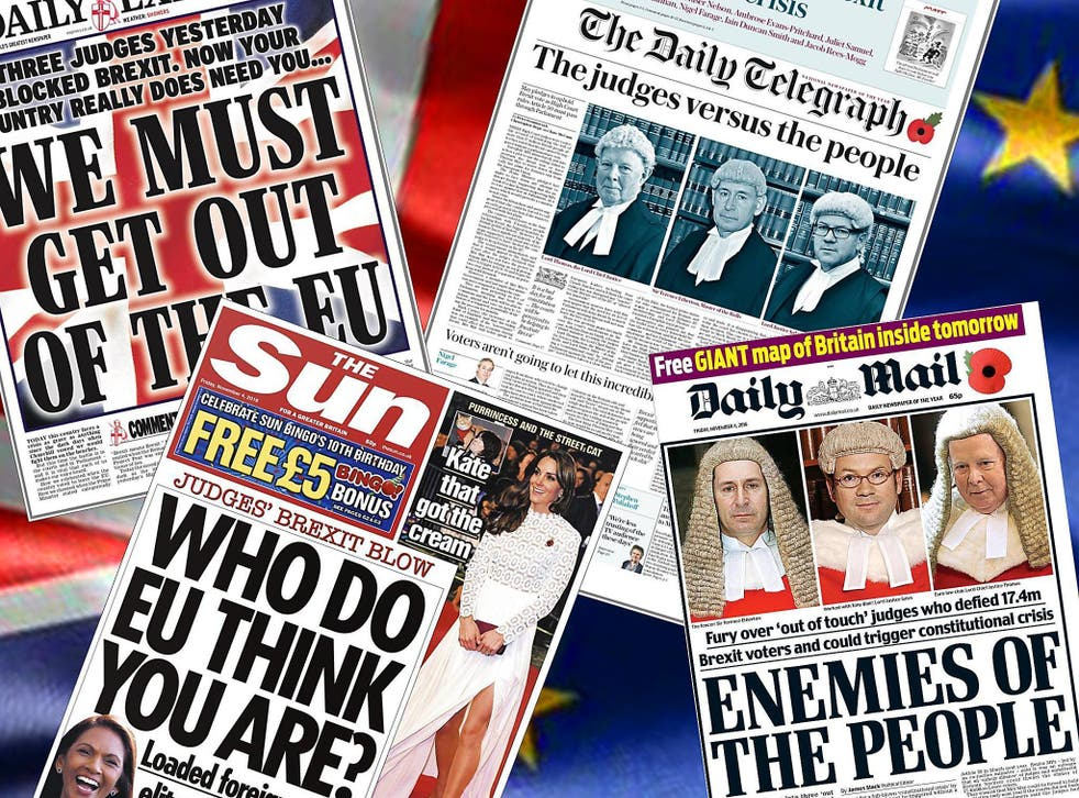 How four newspapers – the Daily Mail, The Sun, Daily Express and The Daily Telegraph – reported the High Court Brexit ruling