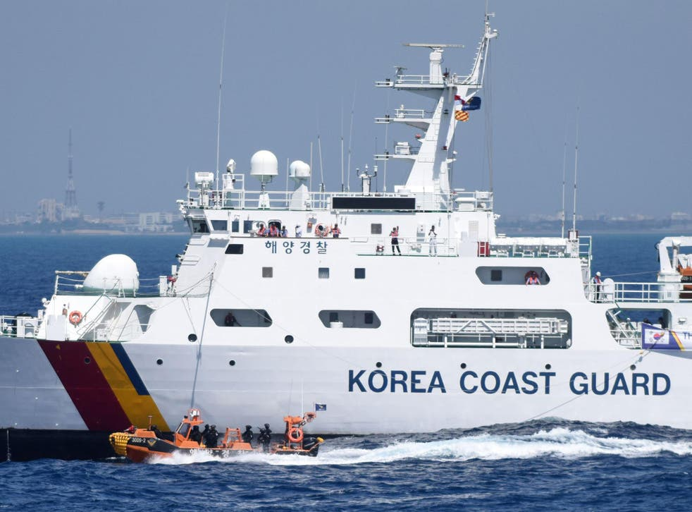 A South Korean coastguard boat was involved in an aggressive altercation with Chinese fishing vessels (file photo)
