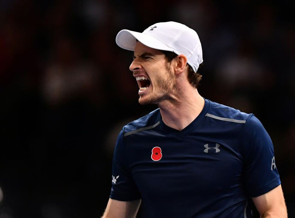 Andy Murray of Great Britain reacts during the Mens Singles quarter final match against Tomas Berdych of the Czech Republic
