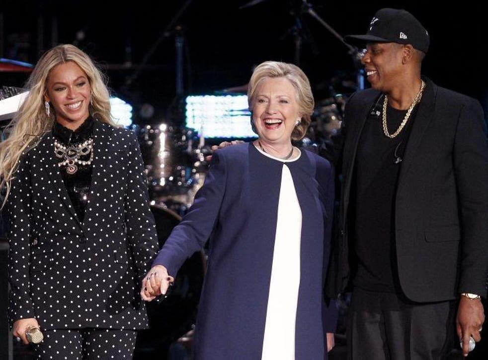 Beyonce, Hillary Clinton and Jay Z address the crowd in Cleveland