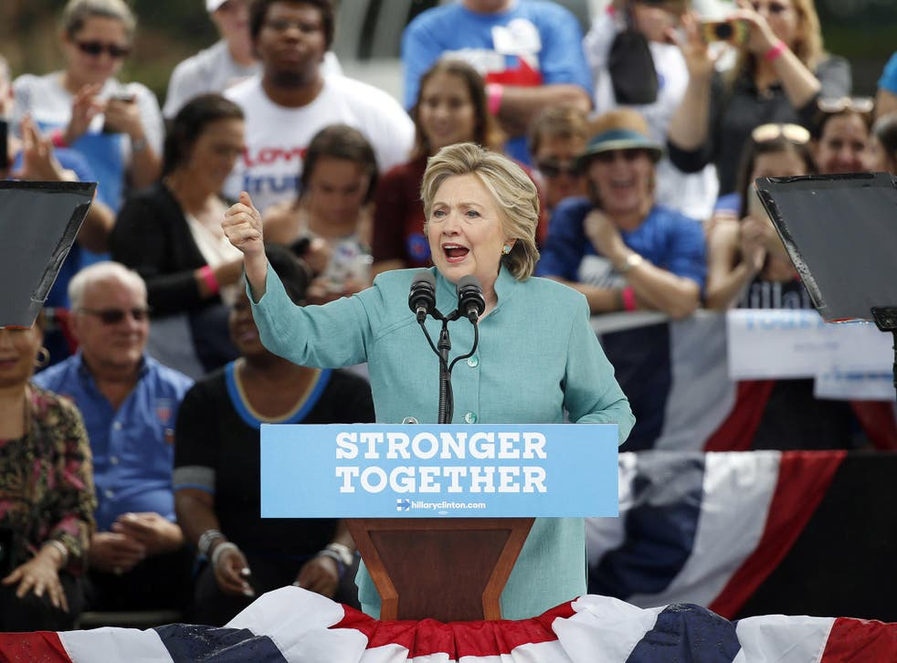 Hillary Clinton speaks at a rally in Pembroke Pines, Florida