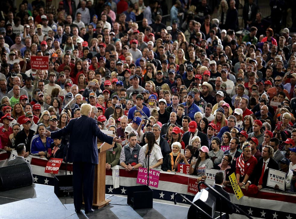 Donald Trump on stage in Denver on Saturday night, the last stop on a frantic day of campaigning in Florida, North Carolina, Nevada and Colorado
