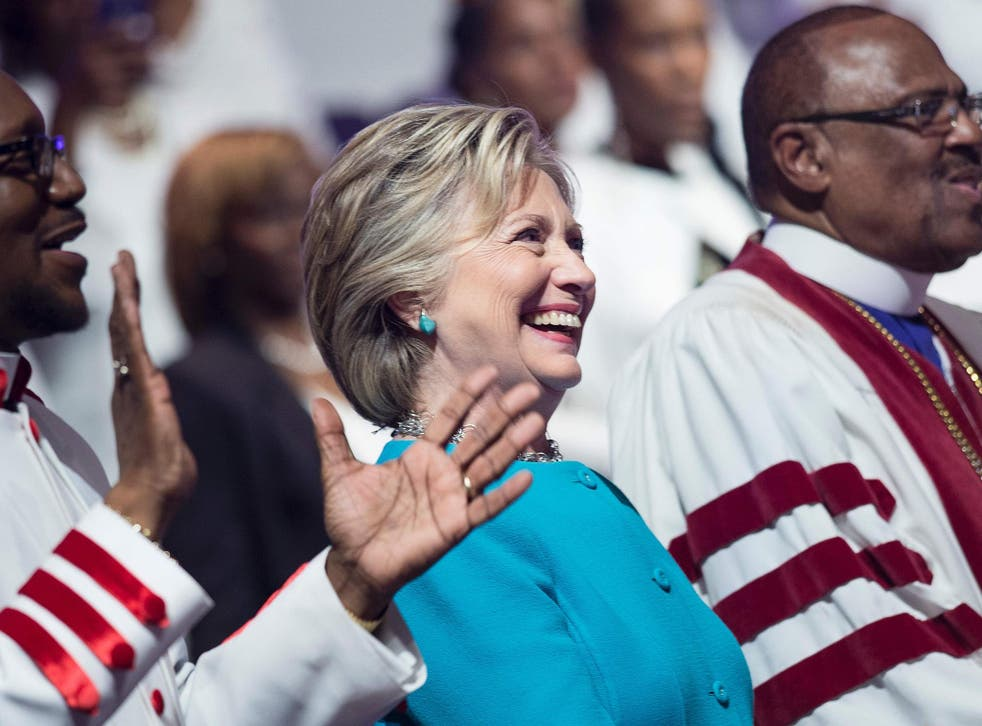 <p>Hillary Clinton on the campaign trail in 2016.</p>
