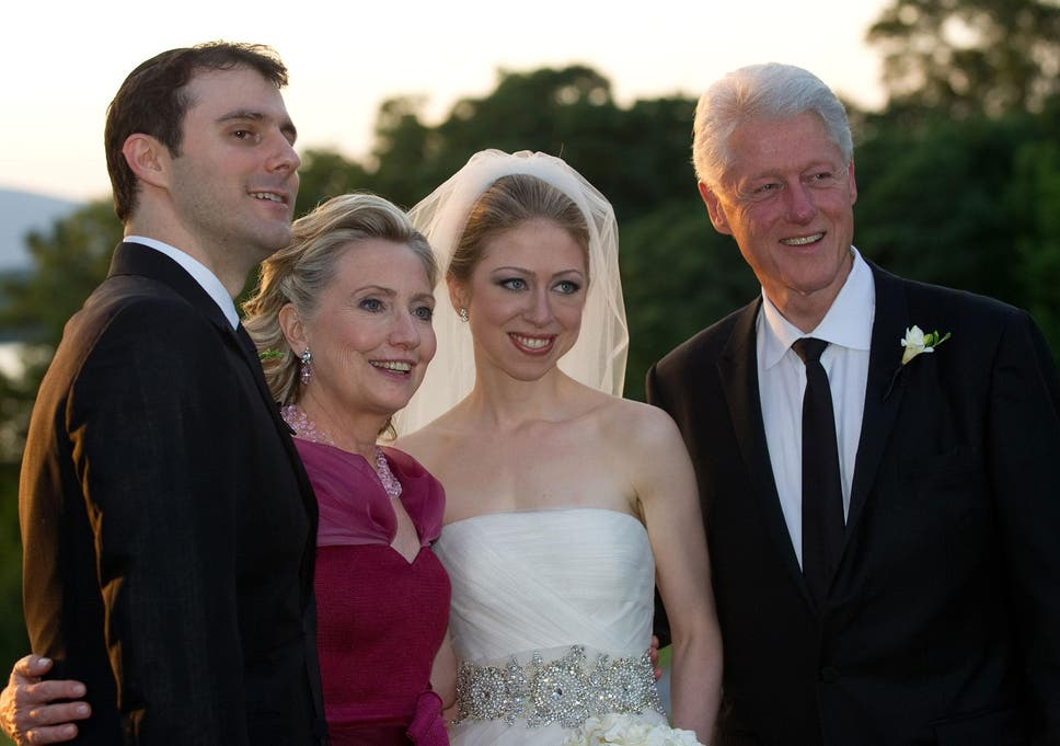 From Left To Right, Marc Mezvinsky, Hillary Clinton, Chelsea Clinton And  Former US
