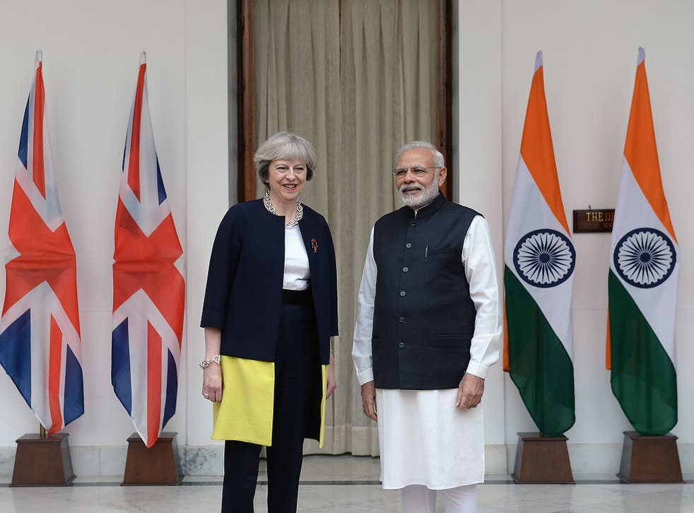 Theresa May is taking a hard line with India's Prime Minister, Narendra Modi