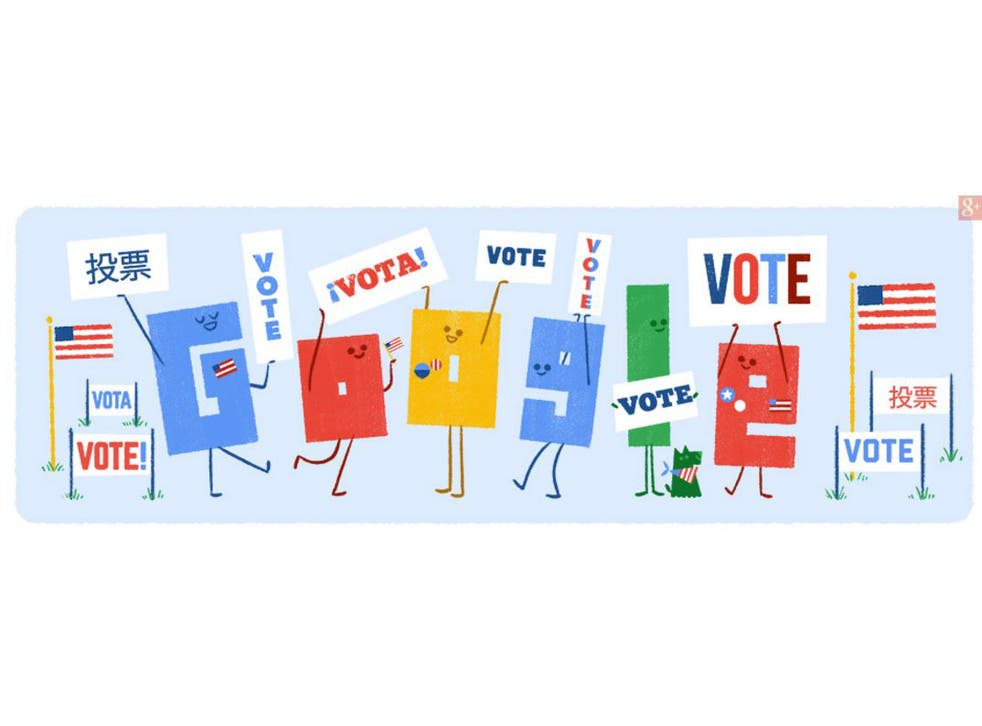 Today's US Google Doodle is the second in a series of illustrations urging people to vote in the presidential election