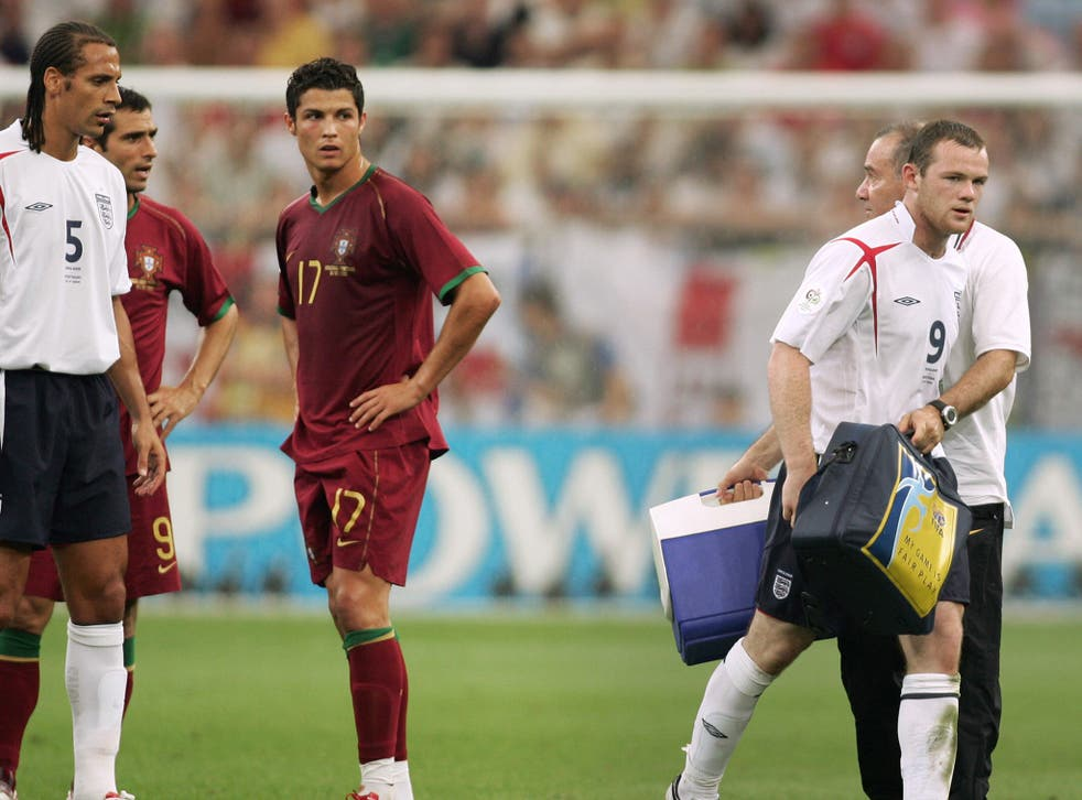 Ronaldo watches Rooney leave the pitch in Gelsenkirchen