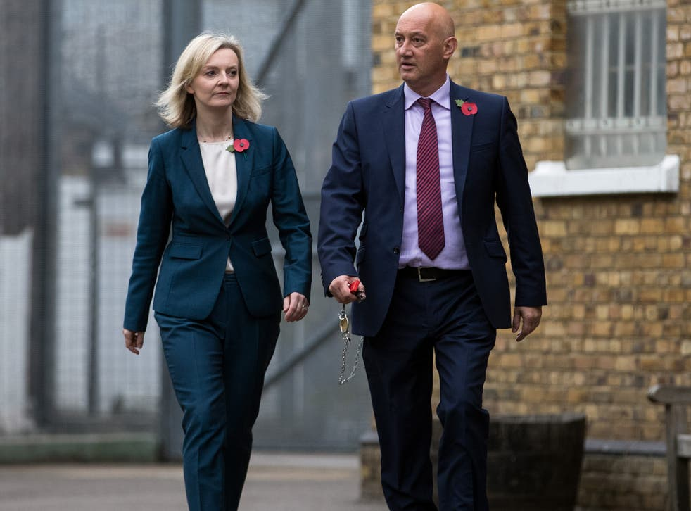 Secretary Of State For Justice Liz Truss is escorted around HMP Brixton by the Prison Govenor David Bamford
