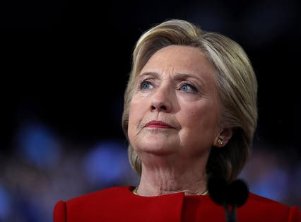 Democratic presidential nominee former Secretary of State Hillary Clinton speaks during a campaign rally at North Carolina State University on 8 November, 2016 in Raleigh North Carolina