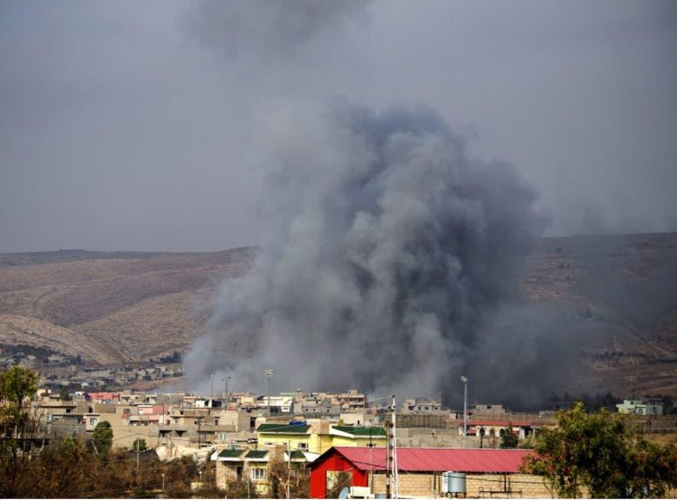 An air strike in Bashiqa, northern Iraq, on Tuesday
