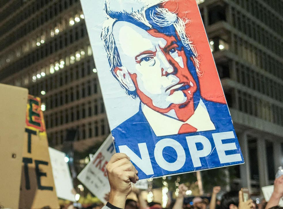 Protesters gather outside Trump Tower in New York after the election