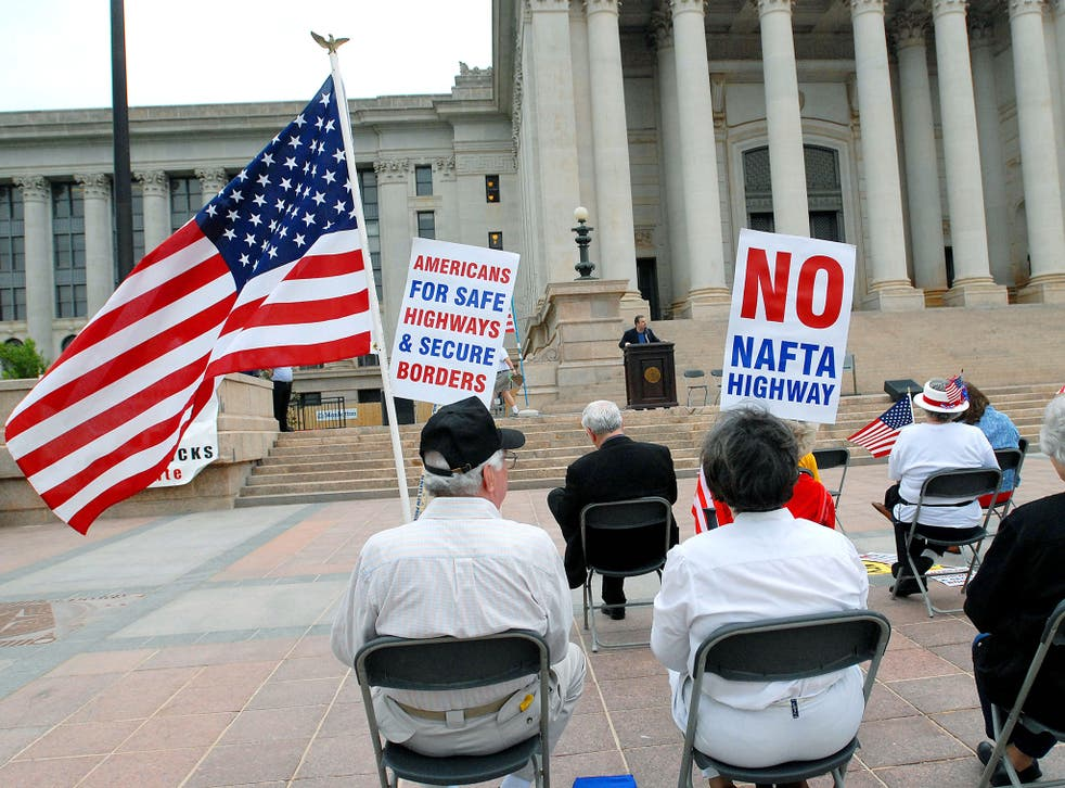 Donald Trump played on popular dislike of free trade deals during his campaign. Pictured: anti Nafta protesters in Oklahoma in 2007