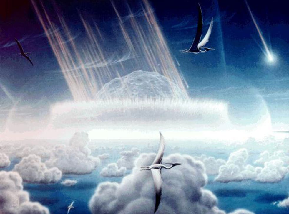 An artists impression of the Chicxulub asteroid which is believed to have wiped out the dinosaurs