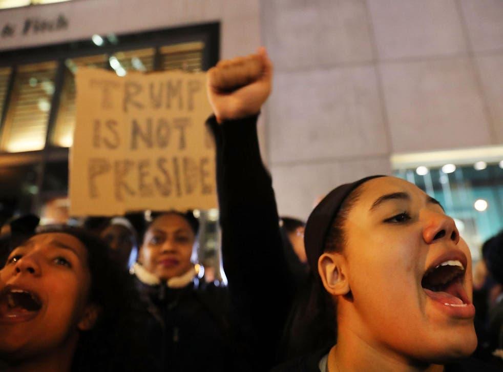 Anti-Trump protesters outside Trump Tower in Manhattan