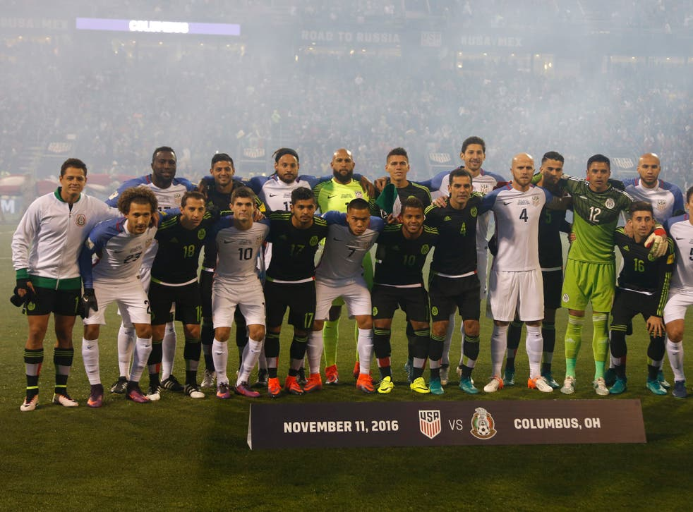 US and Mexico players unite for a team photo ahead of their World Cup qualifier in Colombus