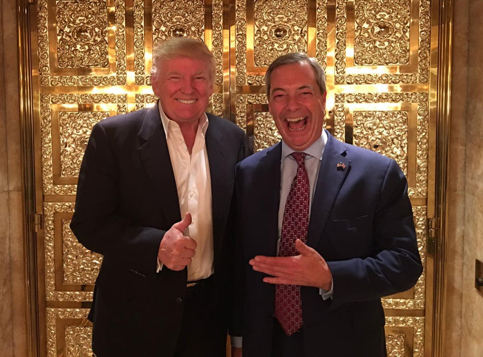 Donald Trump and Nigel Farage at Trump Tower in New York on 12 November, when the Ukip leader became the first British politician to meet the President-elect after his election victory
