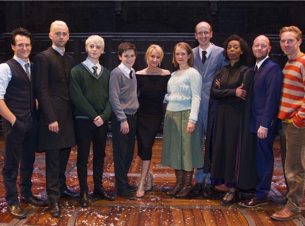 The cast of the West End production of Harry Potter and the Cursed Child with author J.K. Rowling