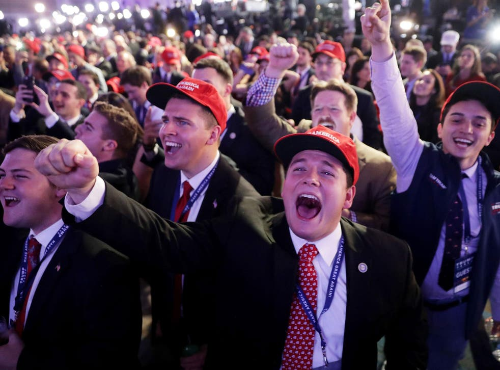 Trump supporters celebrate his victory on US election night