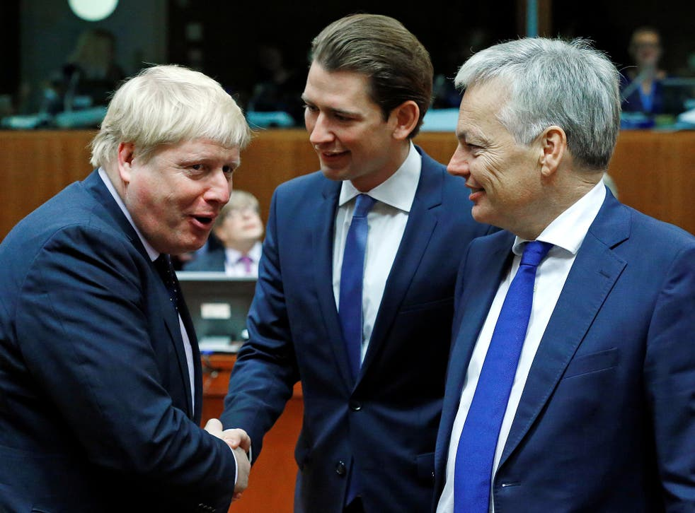 The Foreign Secretary meeting Austria's Foreign Minister Sebastian Kurz (centre), and Belgium's Foreign Minister Didier Reynders in Brussels on Monday