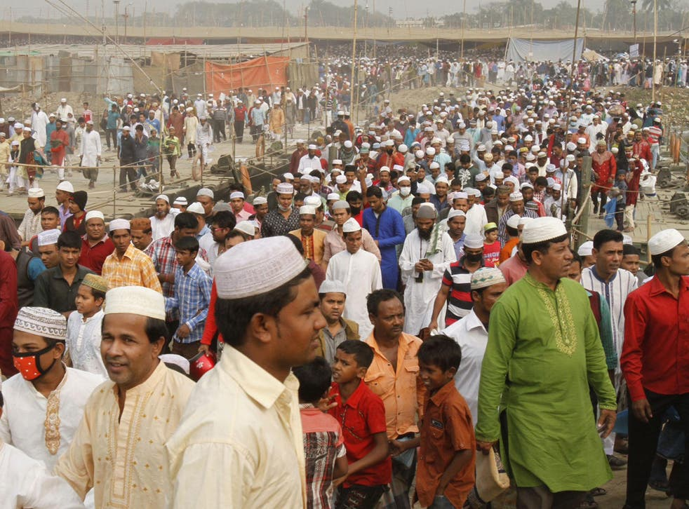 Muslims gathering for religious event in Dhaka, 300km from Thakurpara, a Muslim-majority country