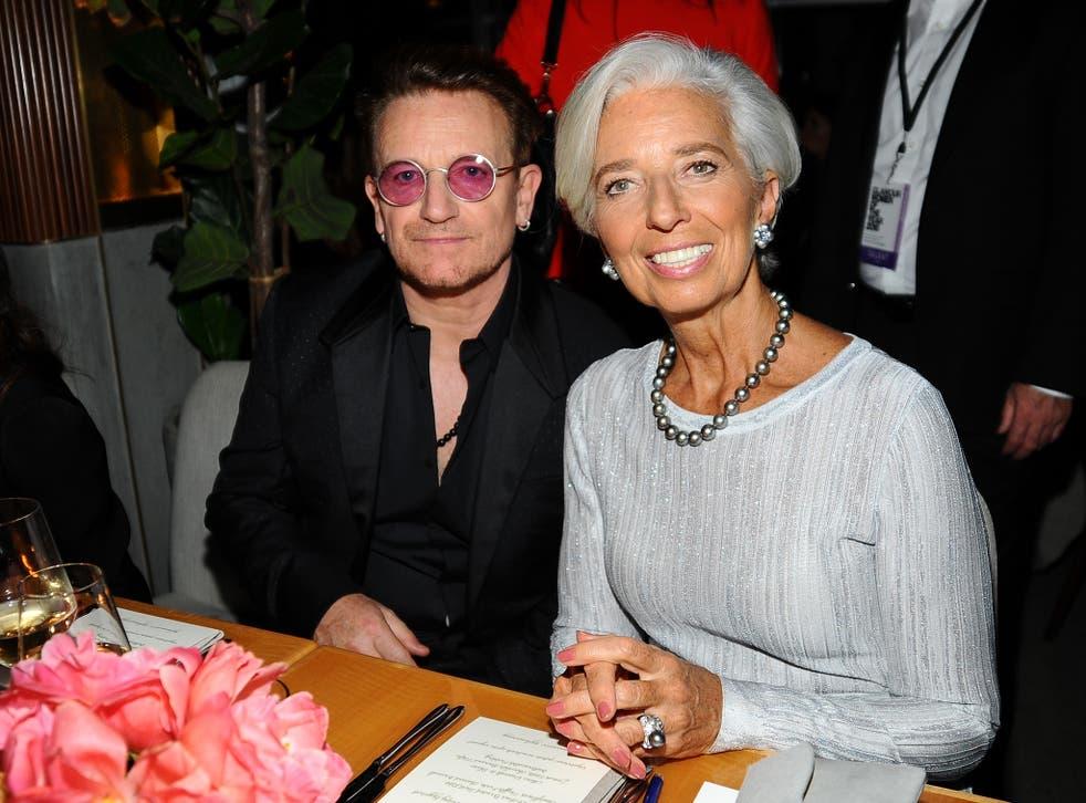 Irish rock star Bono and IMF President Christine Lagarde at Glamour's Women of the Year awards