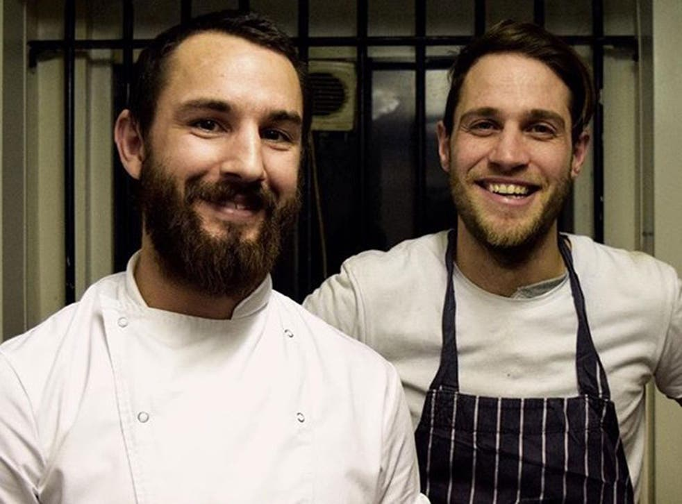 Lee Skeet (left) and friend Dan Harding pictured at a pop-up at The Shop in Kensal Rise, London.