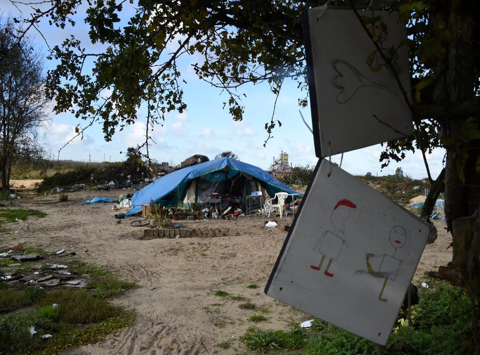 A tent is all that remains of the Jungle after it was cleared by French authorities