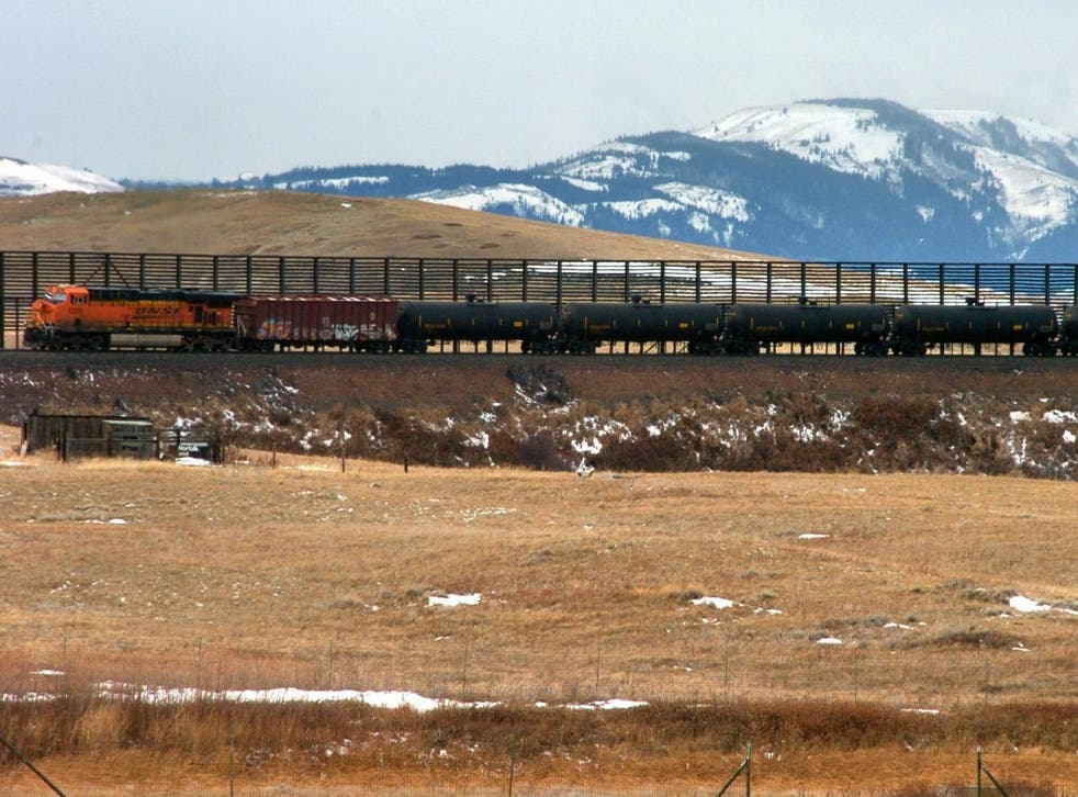 A train hauls oil into Glacier National Park near the Badger-Two Medicine National Forest in northwest Montana