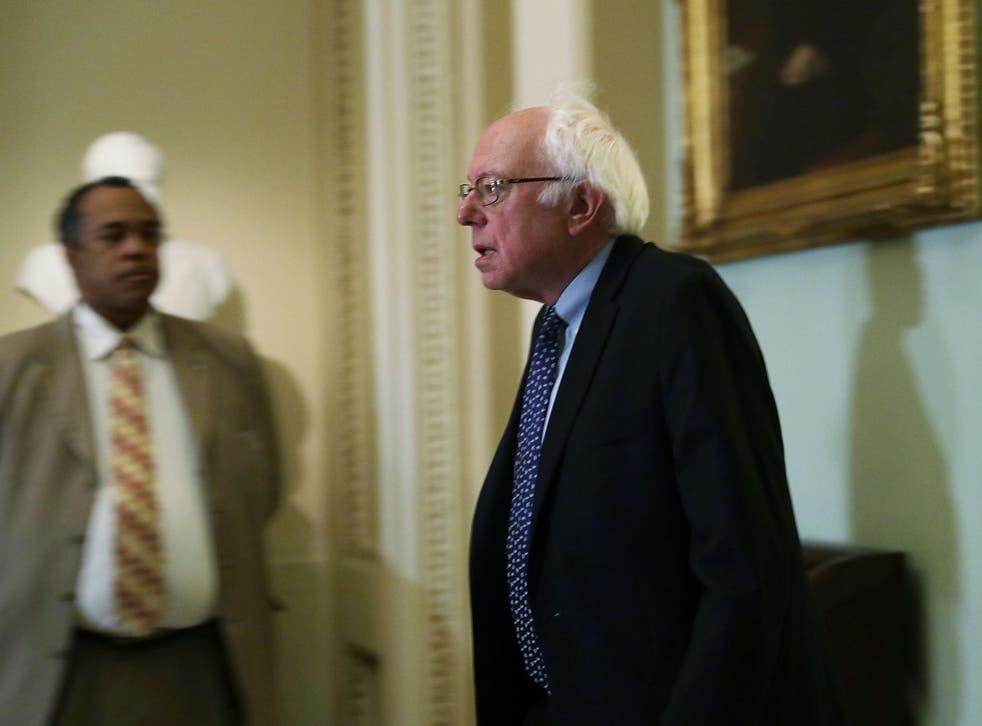 US Senator Bernie Sanders arrives at an election meeting of Senate Democrats at the Capitol November 16, 2016 in Washington, DC