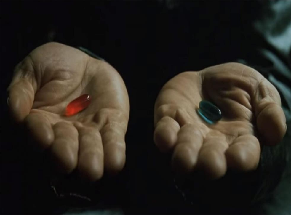 Will Neo take the red or the blue pill: The famous scene from the Matrix