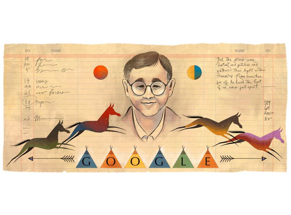 A Google Doodle created by artist Sophie Diao to mark what would have been the 76th birthday of Native American writer James Welch