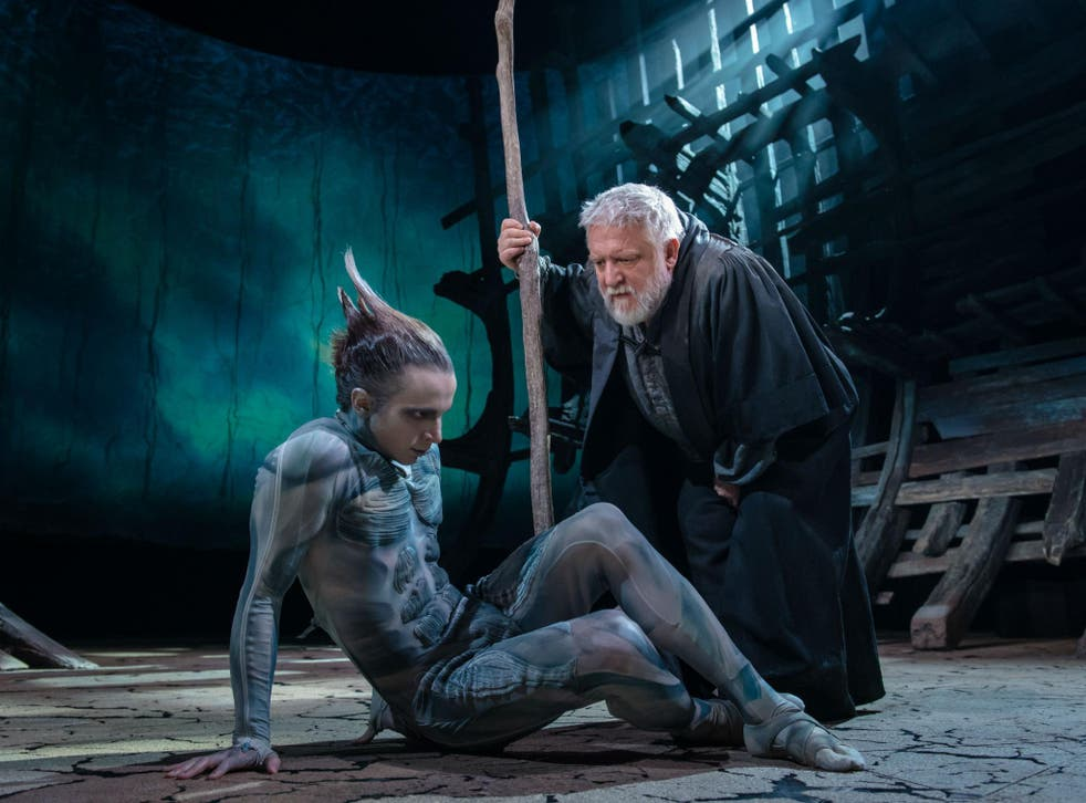 Mark Quartley (left) as Ariel and Simon Russell Beale (right) as Prospero in 'The Tempest' at the RSC